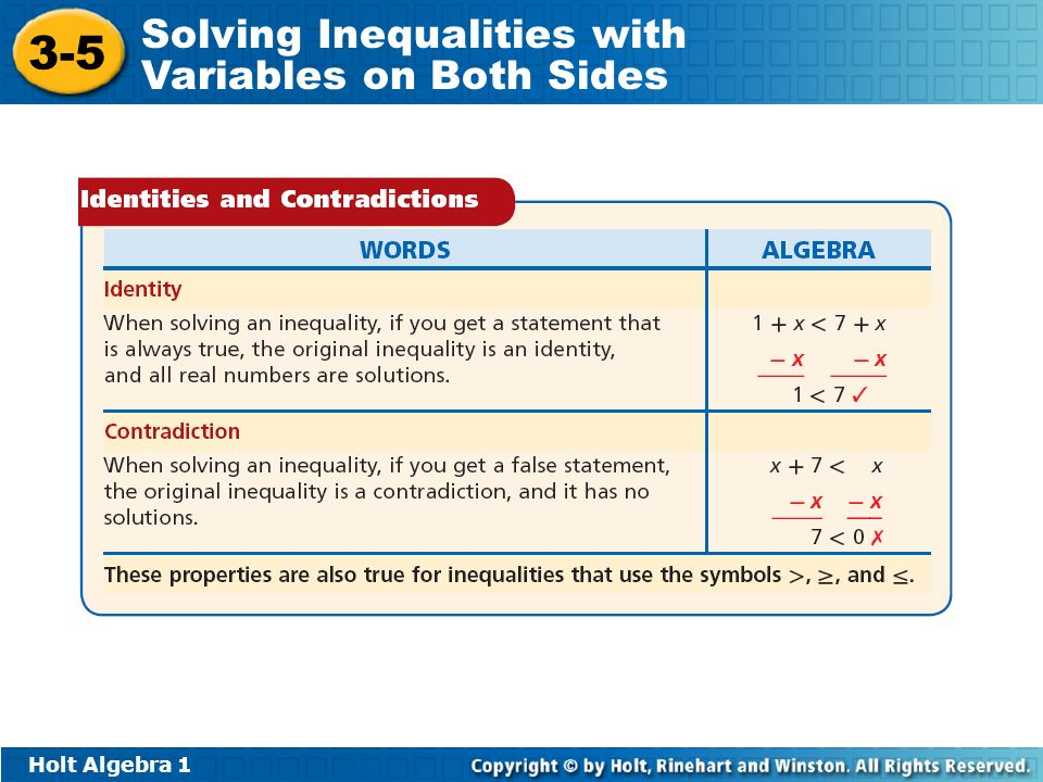 Holt Algebra Solving Inequalities with Variables on Both Sides