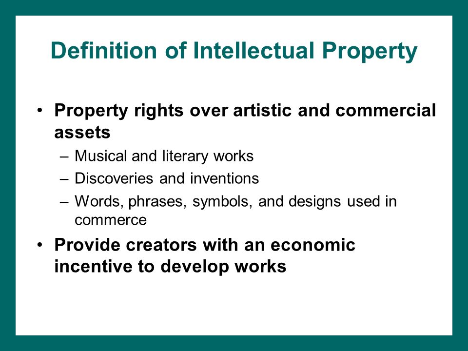 Chapter 9 Intellectual Property Law Chapter Objectives After