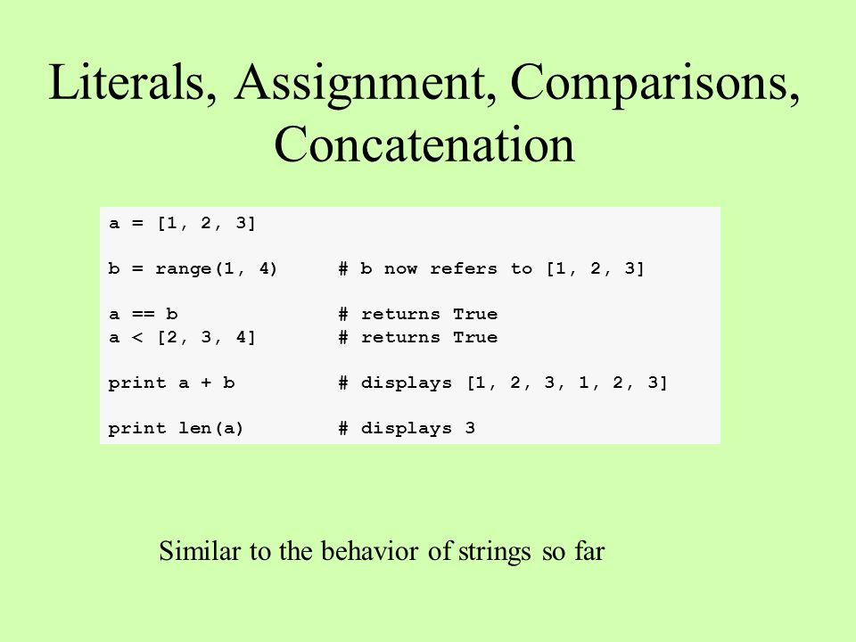 Computer Science 101 Python Lists  Literals, Assignment