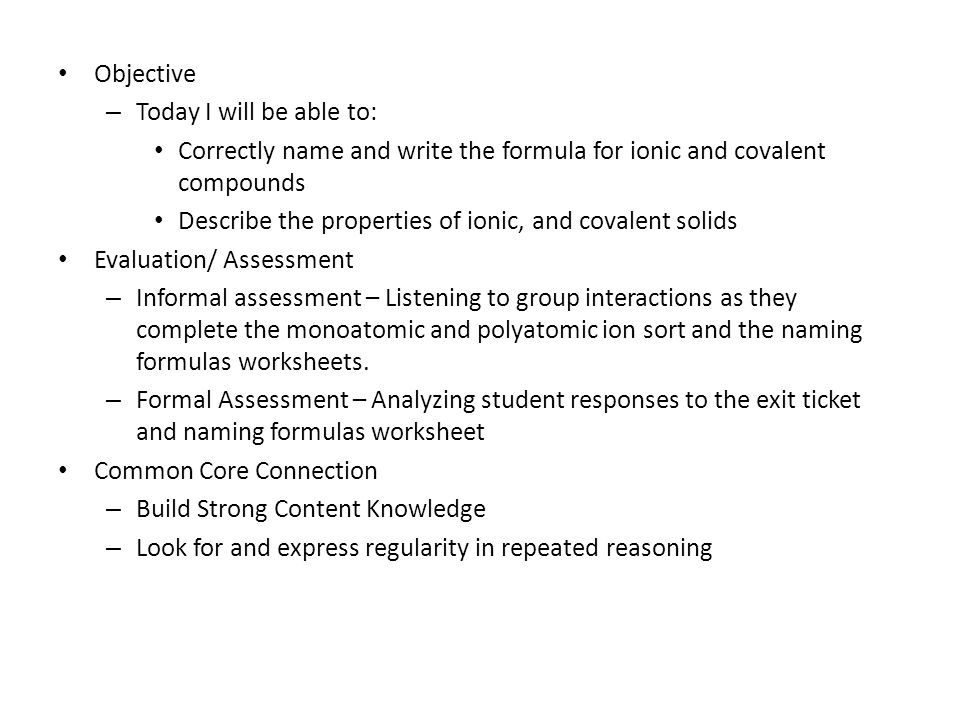 Ionic And Covalent Bonding Objective Today I Will Be Able To