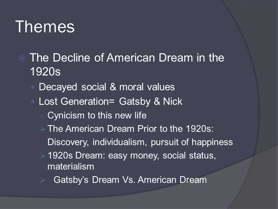 money and the american dream 1920s