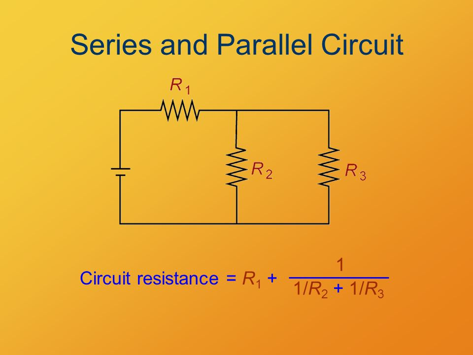Series and Parallel Circuit Circuit resistance = R 1 + 1/R 2 + 1/R 3 1