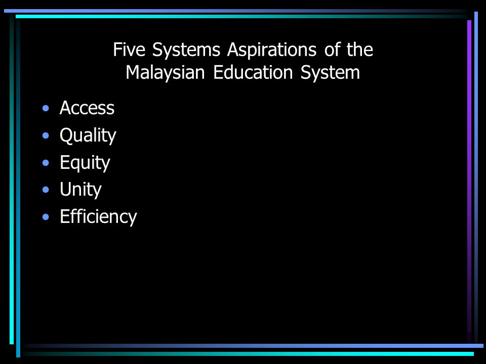 What is educationalschool management learning outcomes concepts 5 five systems aspirations of the malaysian education system access quality equity unity efficiency malvernweather Choice Image