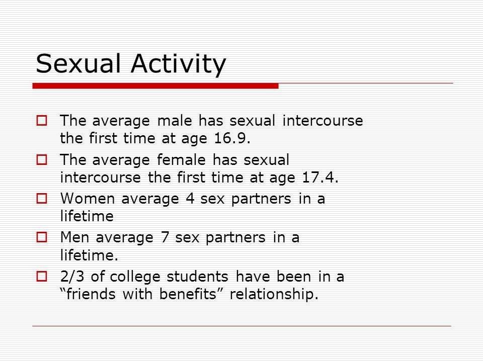 Average age people have sex fpr the first time