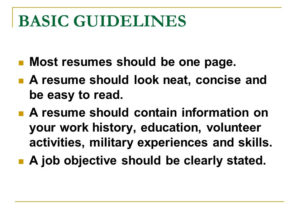 What A Resume Should Contain resume examples templates best disney cover letter sample disney Basic Guidelines Most Resumes Should Be One Page