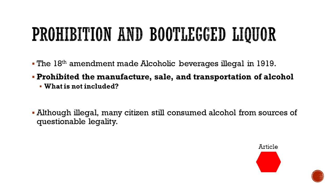 who made alcohol illegal