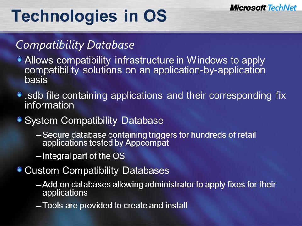 microsoft windows application compatibility database