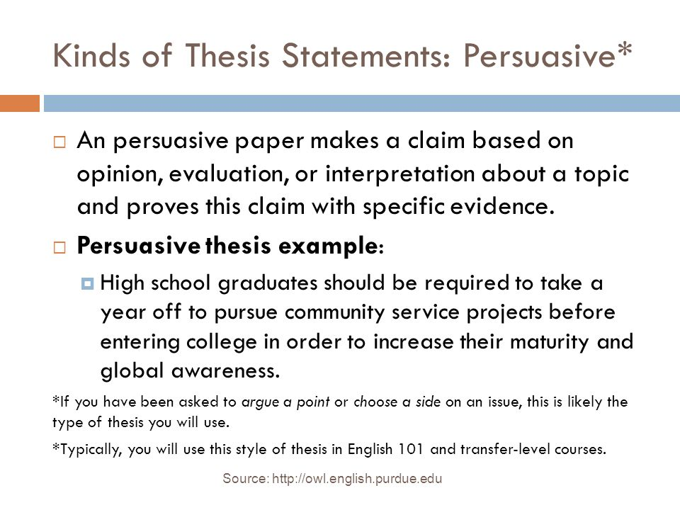 Thesis Statements Source: _A Writer