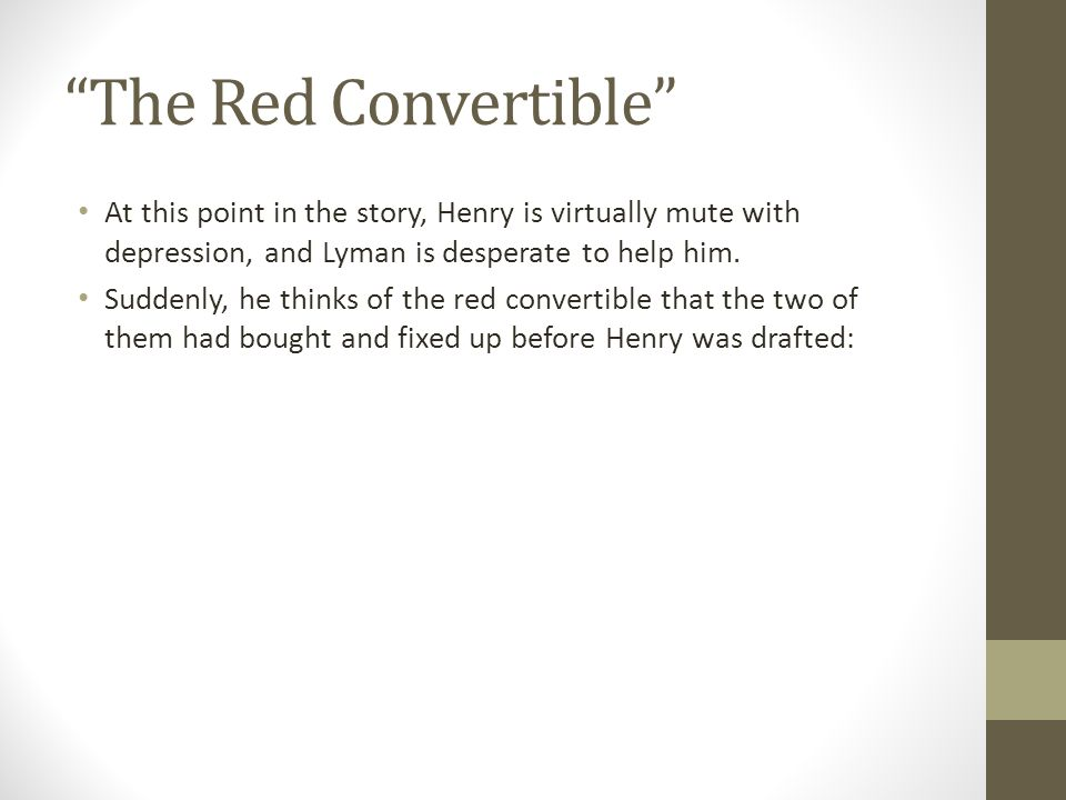 the red convertible text