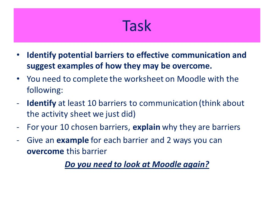 Barriers to Communication SHC 21  Lesson Objectives By the