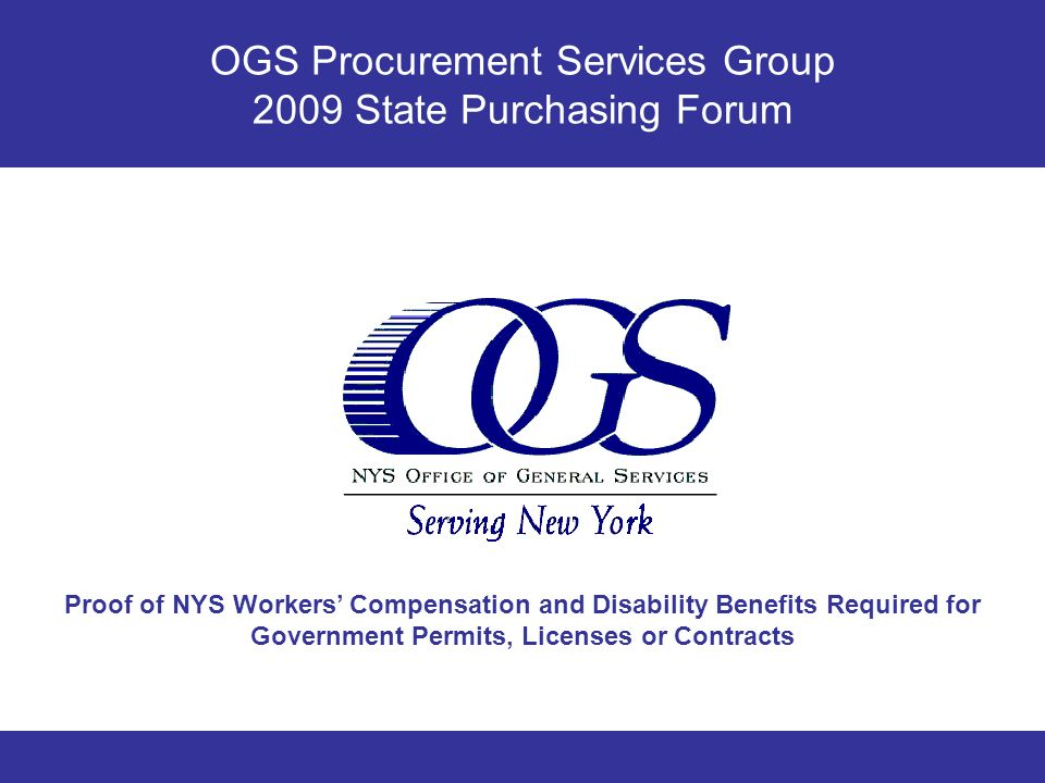 OGS Procurement Services Group 2009 State Purchasing Forum