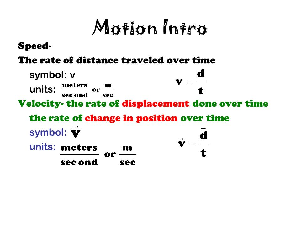How Far Distance Symbol D Units Meters Displacement Symbol