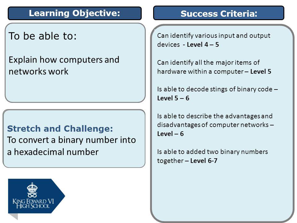 Progress check Learning Objective: Success Criteria : Can identify