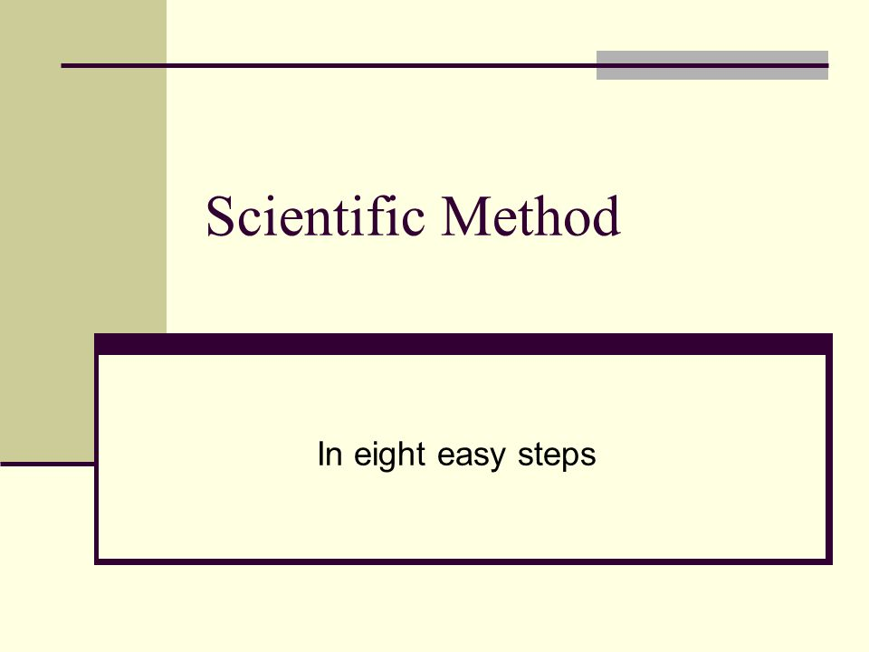 Scientific Method In eight easy steps