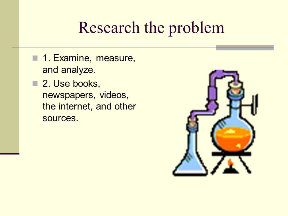 Research the problem 1. Examine, measure, and analyze.