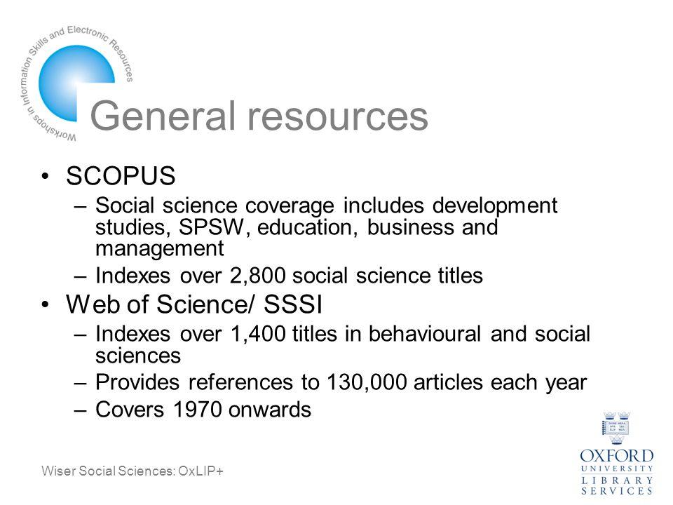 Wiser Social Sciences: OxLIP+ General resources ASSIA