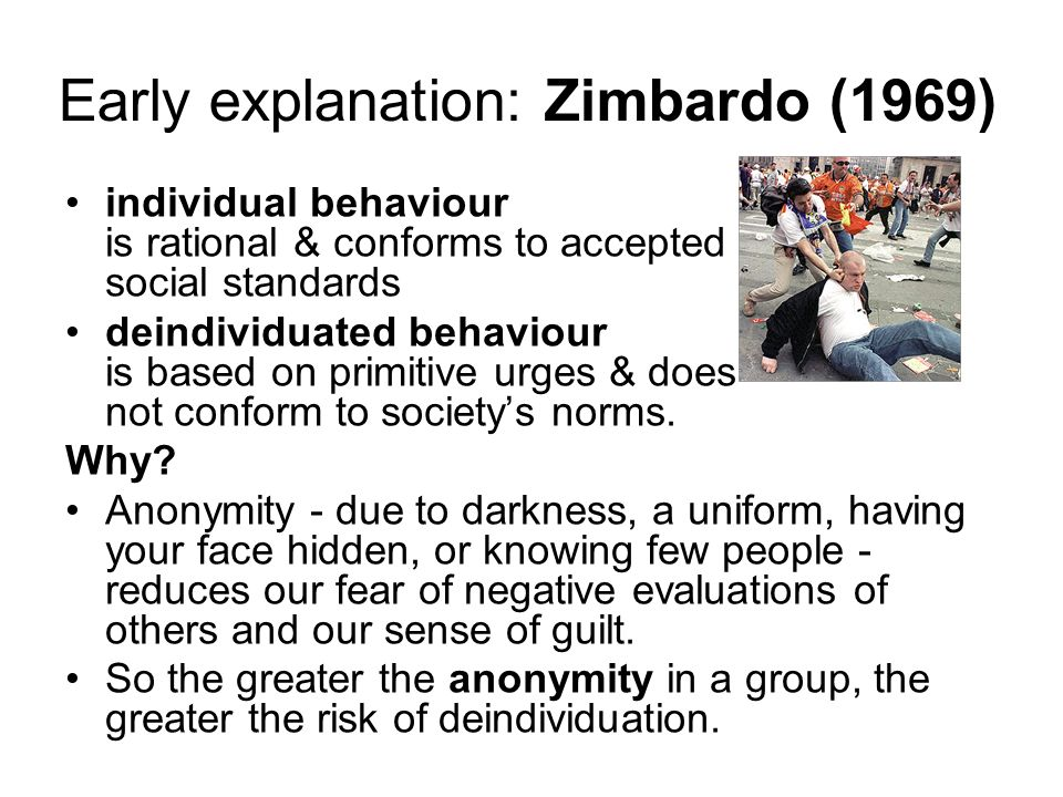 Deindividuation Isolated A Man Can Be A Cultured Individual In A