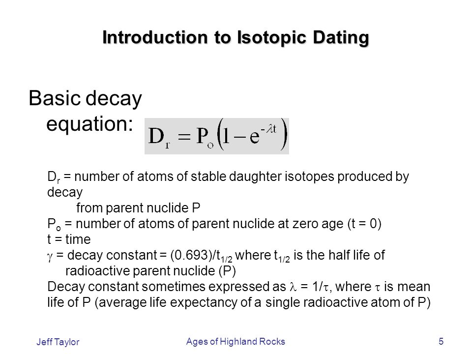 radioactive age dating equation