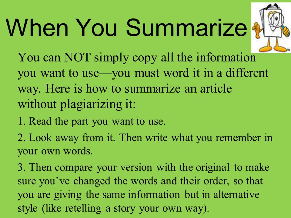 how to summarize an article in your own words