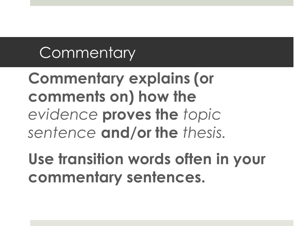 transition words for commentary