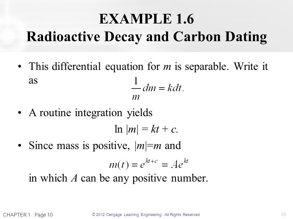 carbon dating differential equation
