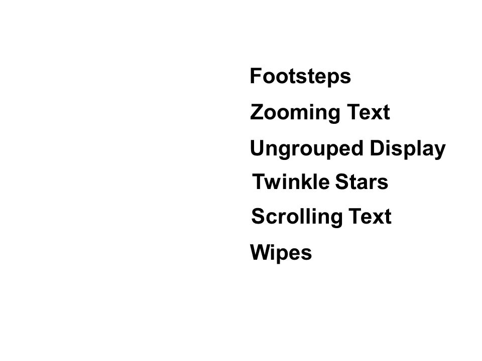2 scrolling text twinkle stars footsteps zooming text wipes ungrouped display