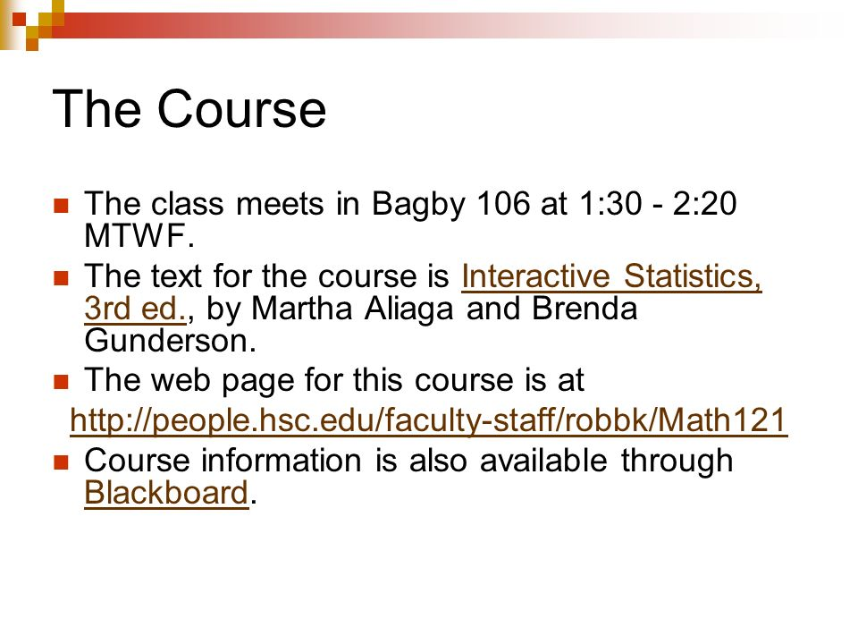 Statistics Spring Introduction Dr Robb T Koether Office Bagby 114