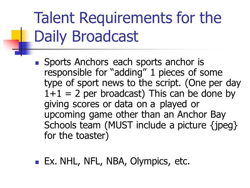 Specific Duties Broadcasting Anchor Bay High School WABS