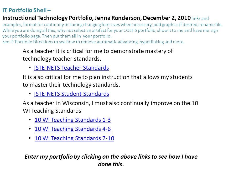 It Portfolio Shell Instructional Technology Portfolio Jenna