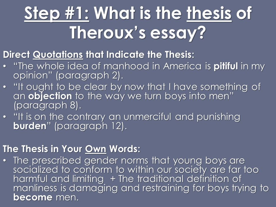 thesis of being a man by paul theroux