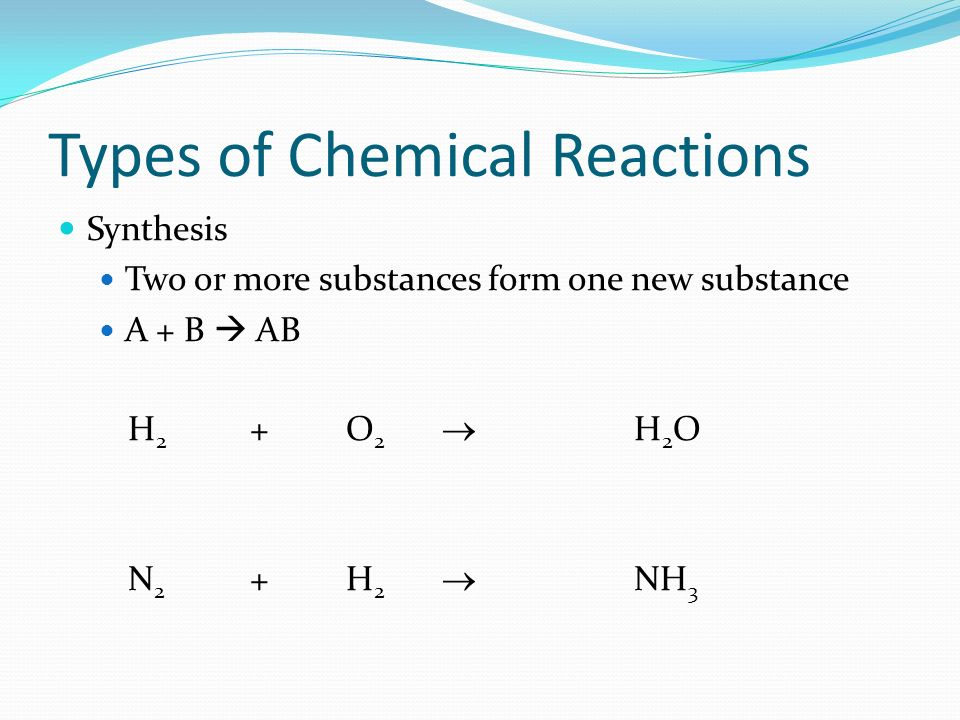 Types Of Chemical Reactions Synthesis Two Or More Substances Form