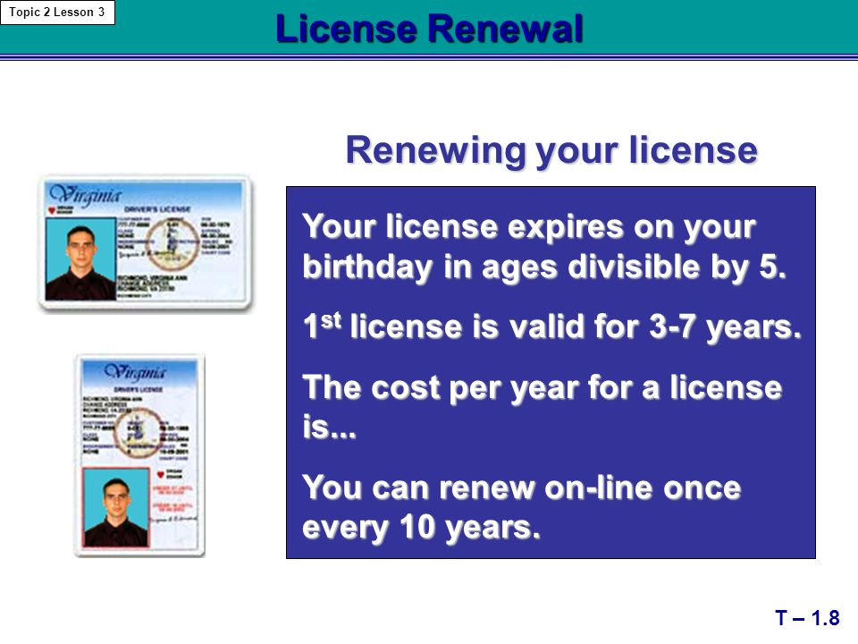 license renewal renewing your license t – 1.8 topic 2 lesson 3 your