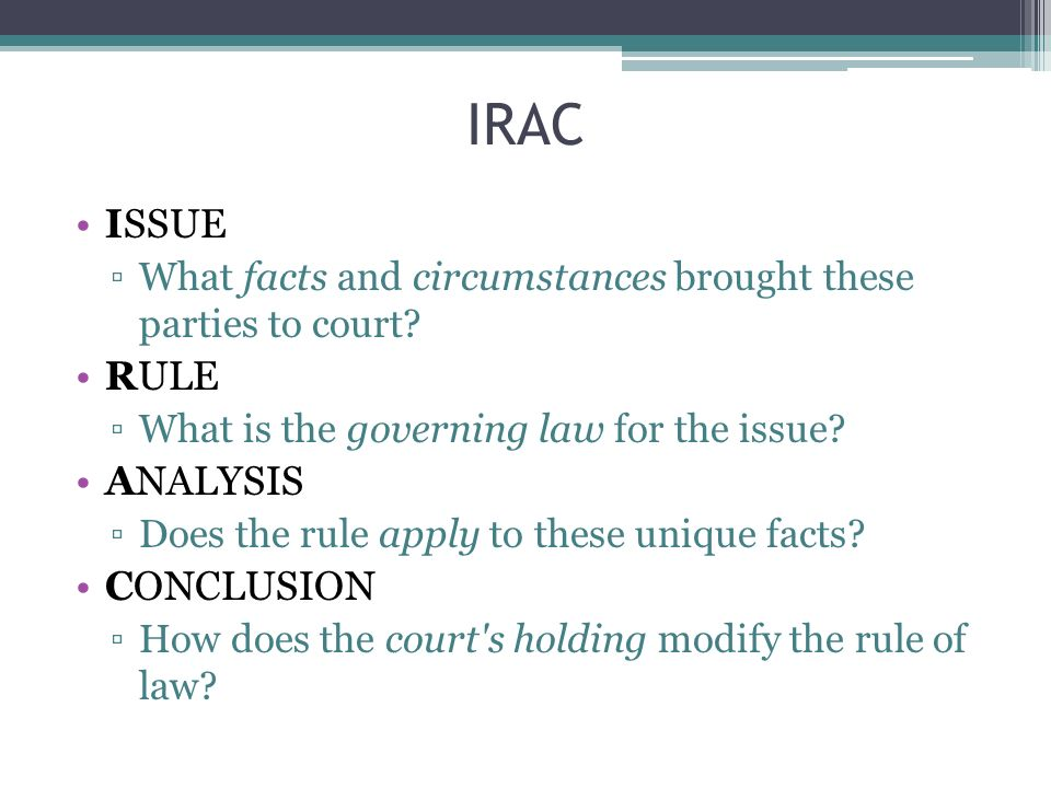 Agenda Questions Irac Issue Rule Relevant Law Analysis