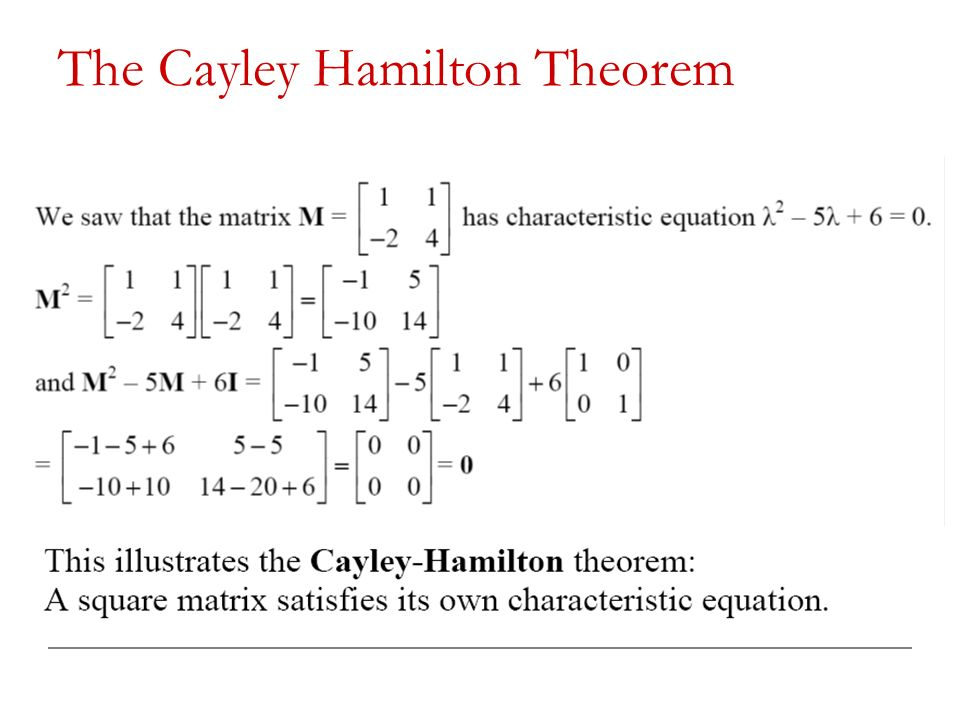 Cayley–hamilton theorem with examples.
