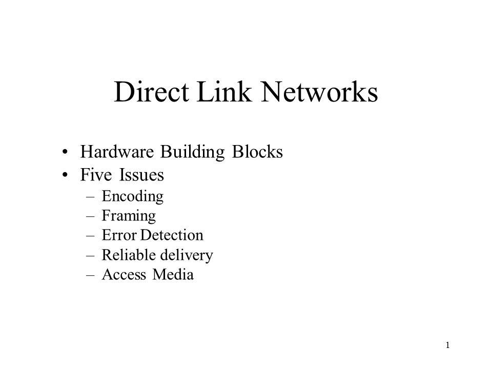 1 Hardware Building Blocks Five Issues –Encoding –Framing –Error ...