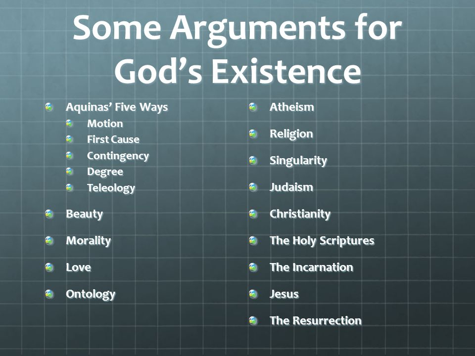 five arguments for the existence of god
