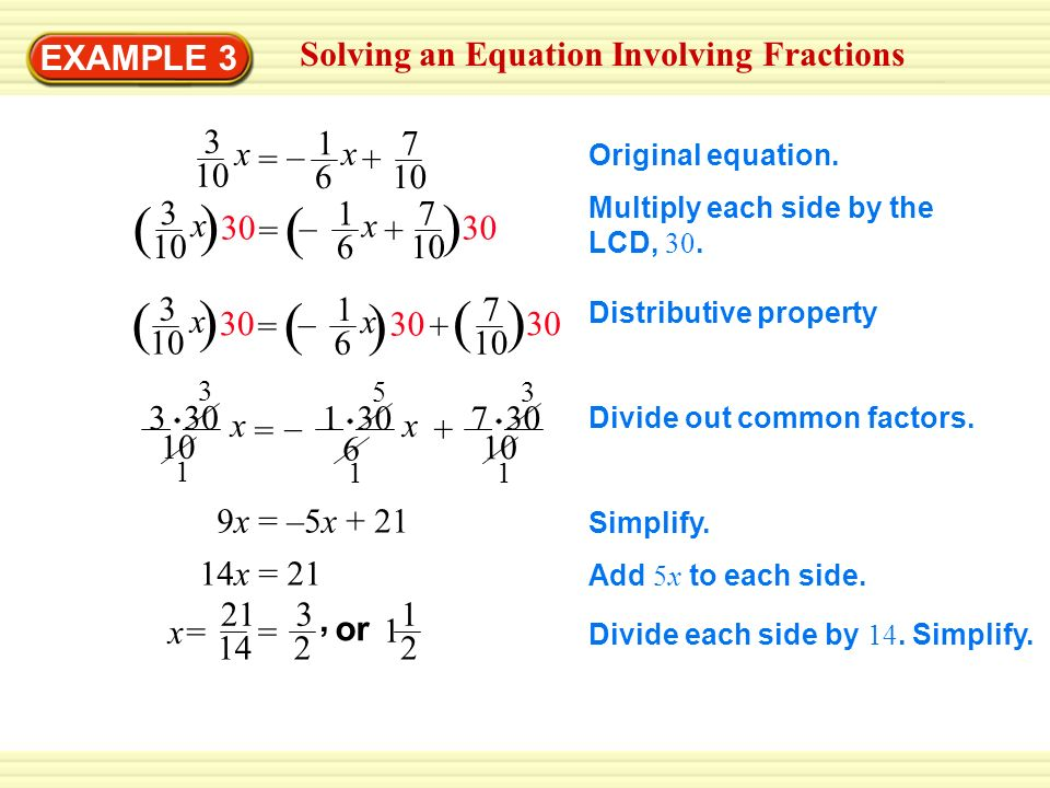 EXAMPLE 3 Solving an Equation Involving Fractions Original equation.