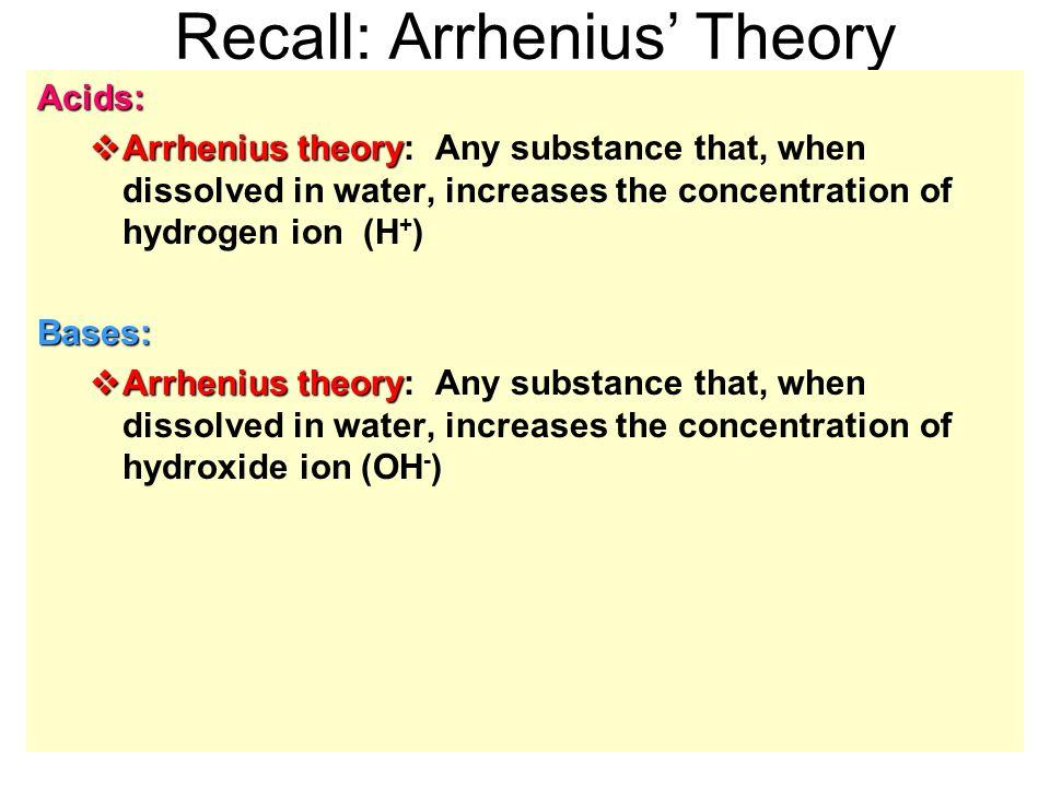 84 Acid Base Theories Recall Arrhenius Theoryacids Arrhenius
