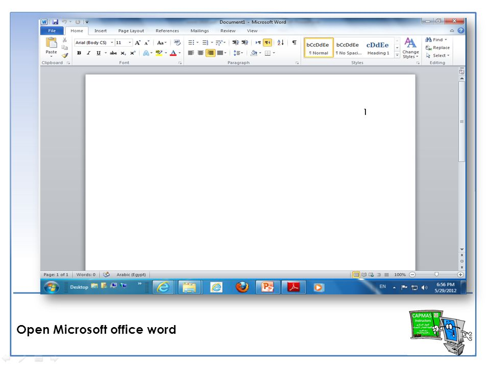 1 open microsoft office word create a new blank document ppt