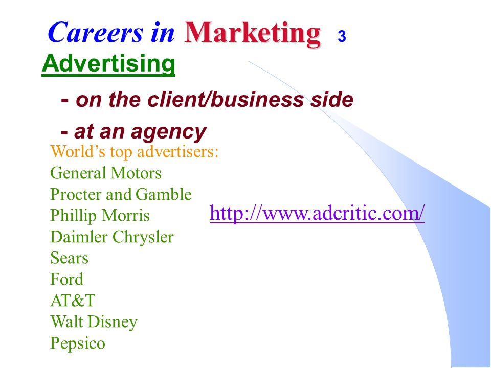 Marketing  Which career? Marketing: Delivering a Standard of