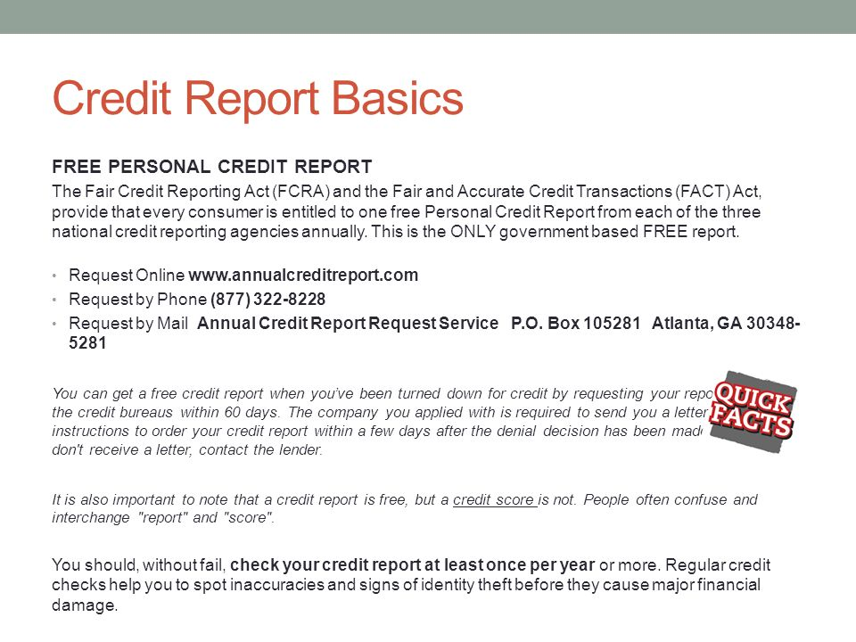 UNDERSTANDING YOUR CREDIT REPORT Taleris Credit Union Takes The