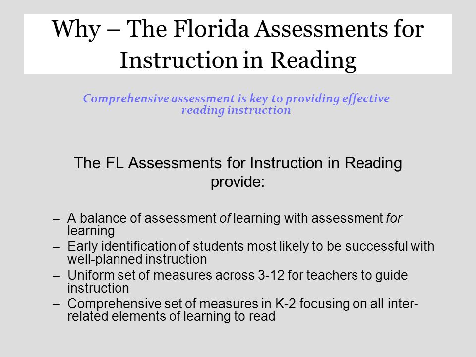 Florida Assessments For Instruction In Reading Florida Assessments