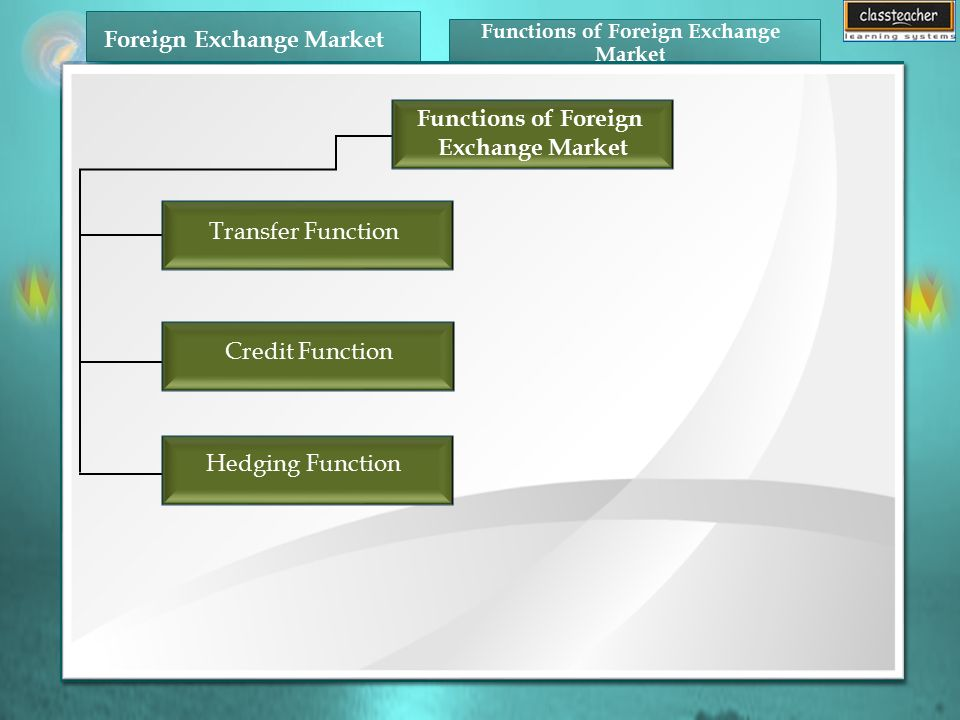 1 Functions Of Foreign Exchange Market Transfer Function Credit Hedging