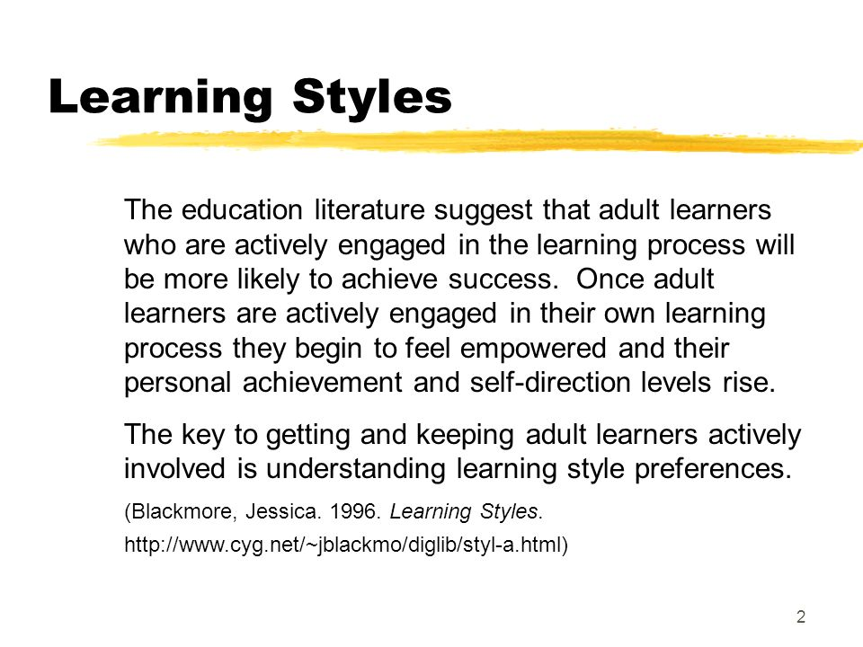 for styles Learning adults presentation