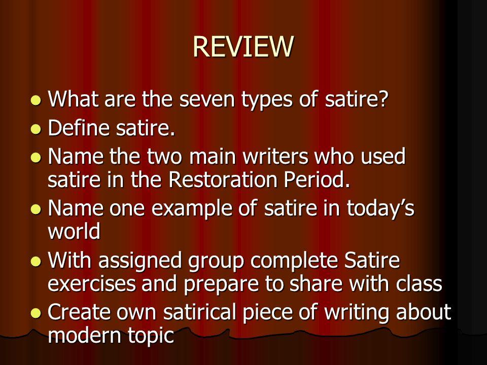 Satire The Restoration Period Satire The 7 Elements Popeswift