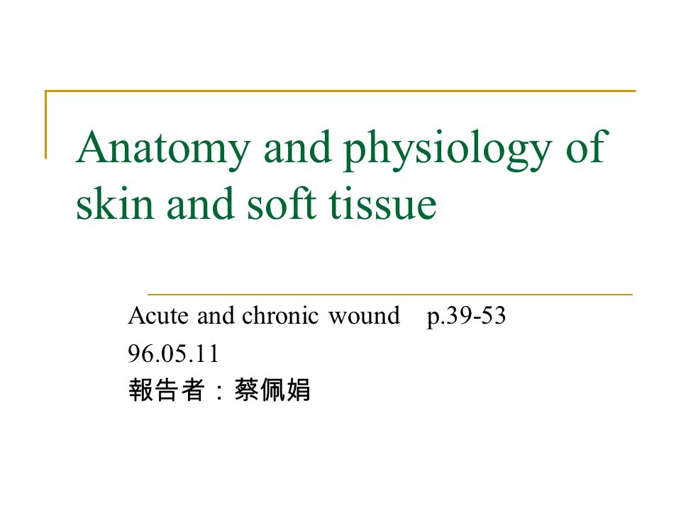 Anatomy and physiology of skin and soft tissue Acute and chronic ...