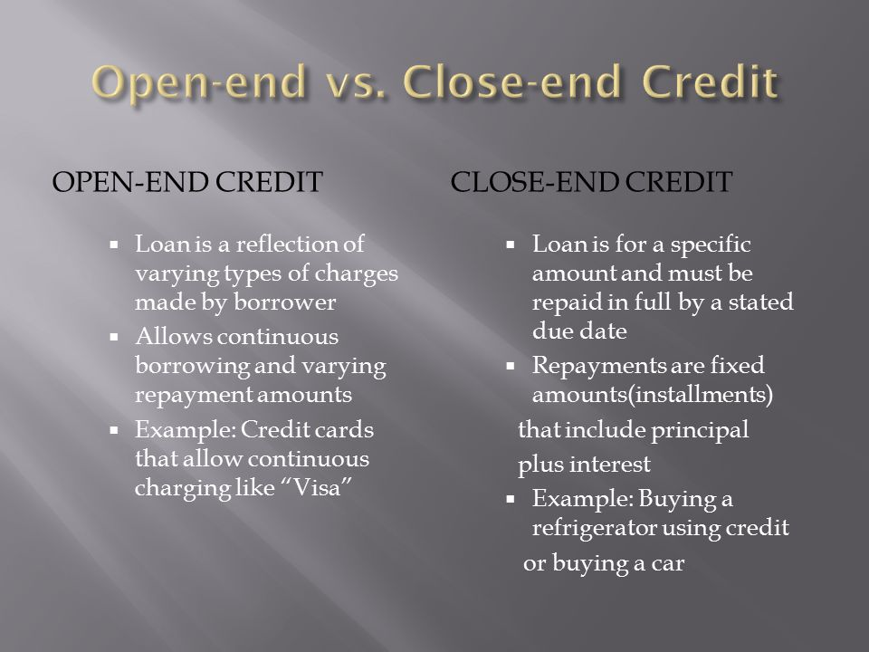 Chapter Open Ended Credit An Agreement To Lend The Borrower An