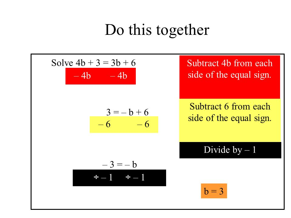 Do this together Solve 4b + 3 = 3b + 6 b = 3 Subtract 4b from each side of the equal sign.