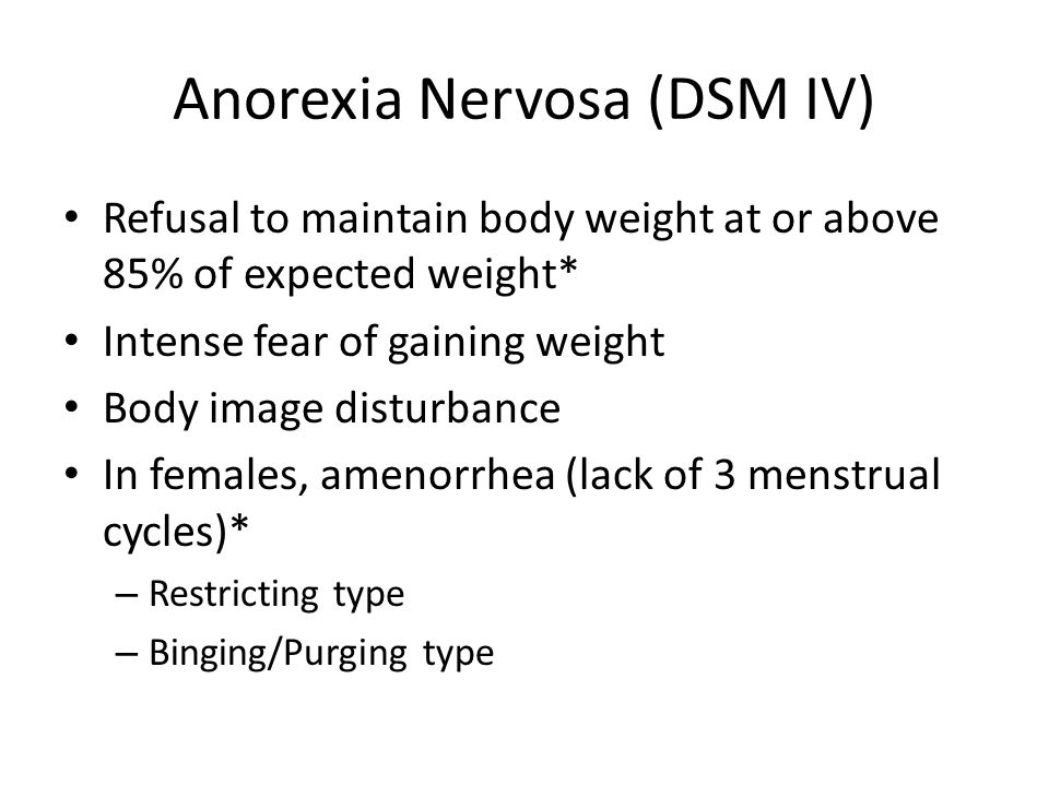 Anorexia Nervosa Dsm Iv Refusal To Maintain Body Weight At Or