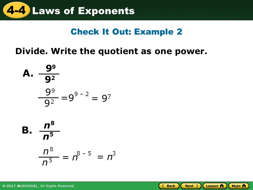 4 Laws Of Exponents Check It Out Example 2 Divide